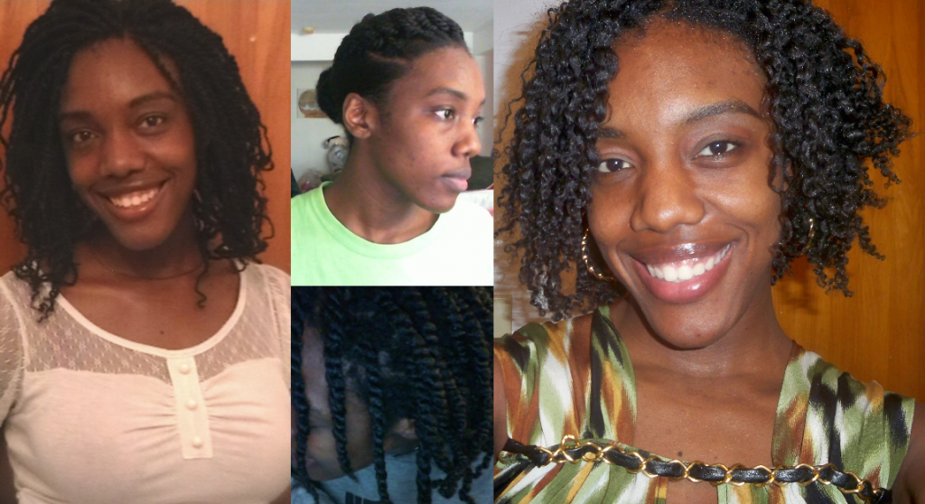 How I wore my hair during postpartum (Kinky Twists, Bun, Two Strand Twists,  Braid Out)